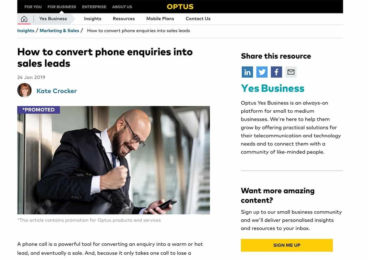 Optus Yes Business | Kate Crocker Copywriter